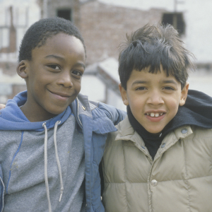 minority. two young black boys in new york