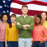 picture of people all racially diverse, with american flag in the background